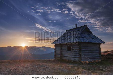 sunrice in mountain near hunting house