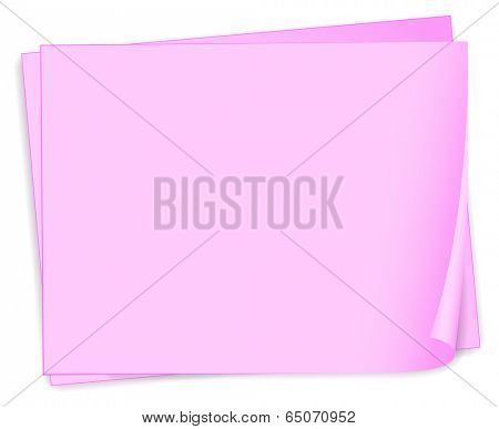 Illustration of the empty pink papers on a white background