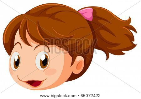 Illustration of a head of a little girl on a white background