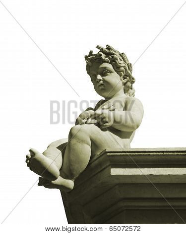 Isolated Classic Style Boy Sculpture