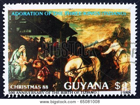 Postage Stamp Guyana 1988 Adoration Of The Magi, By Titian