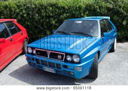 Blue Lancia Delta Martini Racing