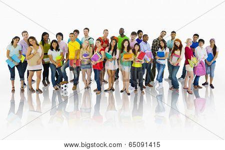 Large group of international students smiling