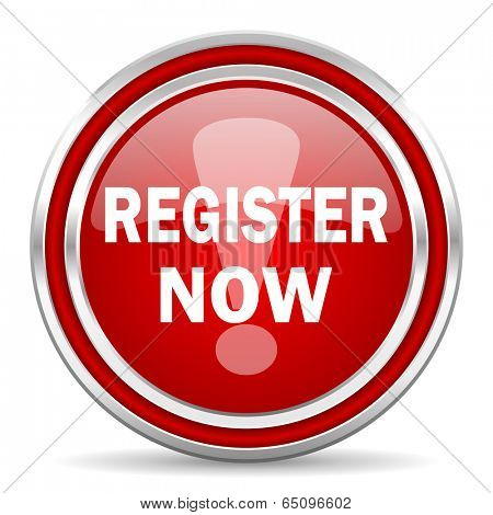 register now red glossy icon