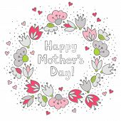 Messy different colorful pink gray flowers and hearts in round wreath on white background with little dots retro romantic botanical centerpiece Mother's Day greeting card poster