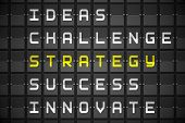 Strategy buzzwords on digitally generated black mechanical board poster
