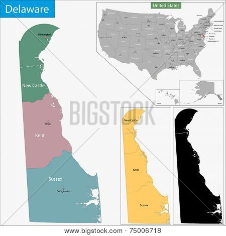 Map of Delaware state designed in illustration with the counties and the county seats