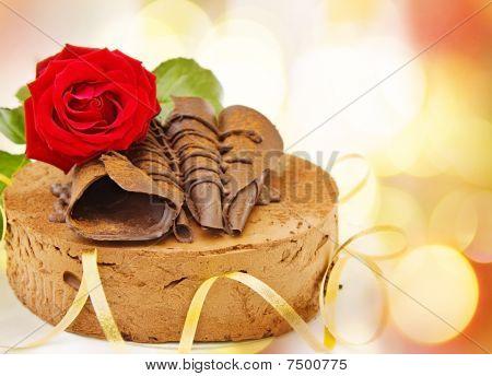 Birthday festive chocolate cake