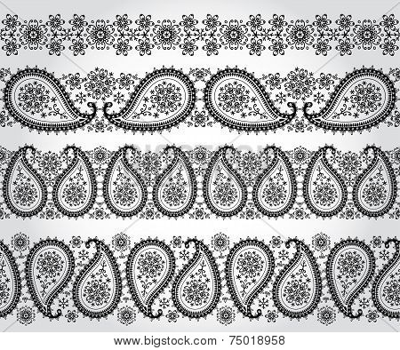 Paisley seamless border set.Winter silhouette lace