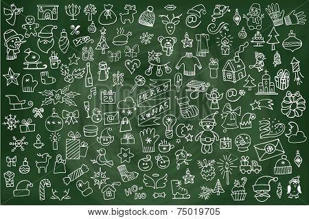 Christmas,new year icons big set.Doodle sketchy chalkboard