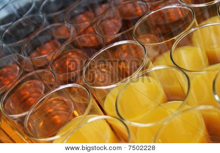 Closeup of glasses with soft drinks