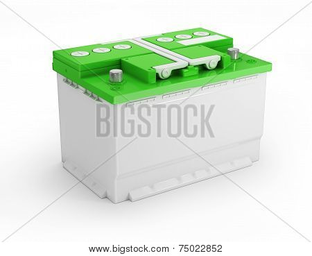 Car battery on white background. Three-dimensional image. poster