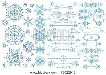 Snowflake,Border,frame set.Winter doodles decor