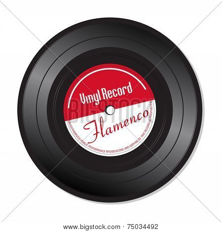 Isolated vinyl record with the text Flamenco written on the record poster