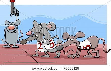 Rat Race Cartoon Illustration