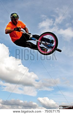 BMX Rider Gets Airborne Performing At State Fair