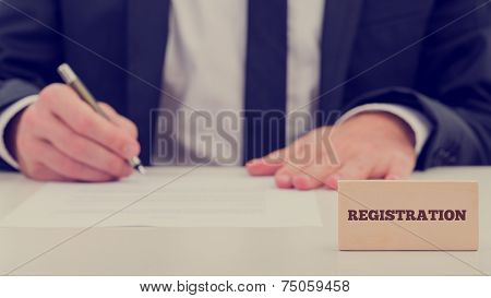 Simple Registration Concept With Businessman