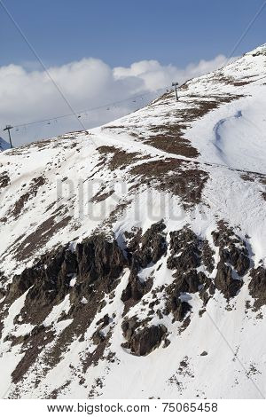 Off-piste Slope With Stones And Chair-lift In Little Snow Year