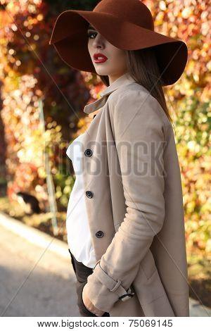 Beautiful Ladylike Woman Wearing Elegant Clothes Posing In Park