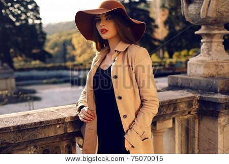 fashion outdoor photo of beautiful ladylike woman with dark straight hair wearing elegant coat and felt hat posing in autumn park poster