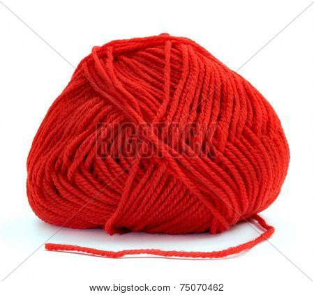 a ball of red yarn for knitting on a white background poster