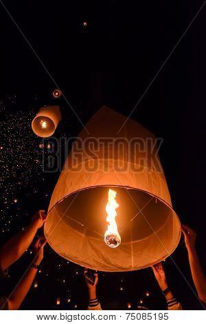 Sky Lanterns Festival Or Yi Peng Festival In Chiang Mai, Thailand