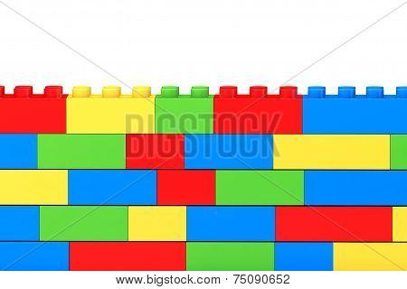 Wall From Children Plastic Blocks