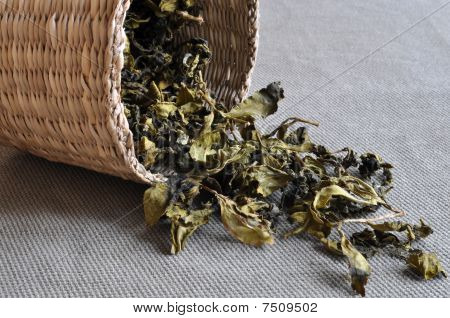 Basket of tea leaves
