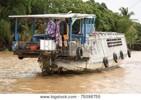 Floating house in Mekong Delta