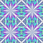 Symmetrical pattern in stained-glass window style. Blue and pink palette. Computer generated graphics. poster
