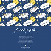 Seamless vector pattern with images cute sheep on background night sky with moon and wish good night poster