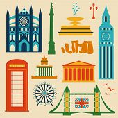 Landmarks of United Kingdom, vector colorful cartoon flat icon set poster