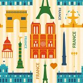 Landmarks of France, vector colorful cartoon seamless pattern in flat style poster