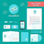 Cloud Link Logo and Identity Template with Flat Style Stationary Mockup Letterhead Envelope Smartphone Business Cards etc. poster