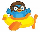 Clipart Picture of a Blue Bird Pilot Cartoon Character in Plane poster