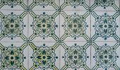 Detail of traditional facade Portuguese glazed tiles. poster