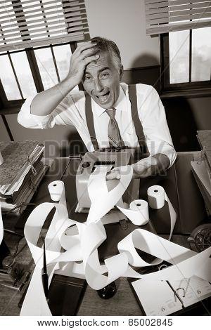 Desperate Vintage Accountant At Desk