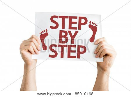Step By Step card isolated on white background