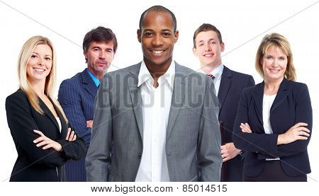 Group of business people isolated white background.