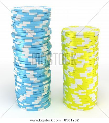 Blue And Yellow Roulette Chips