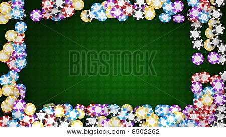 Casino Or Roulette Chips Frame On Green Table