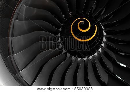 Fan blade of aircraft jet engine in close up. poster