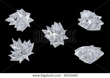 Side Views Of Maple Leaf Diamond Over Black