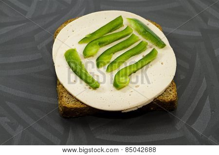 Fresh Cold Cuts from Chicken with Green Capsicum and Toast Bread