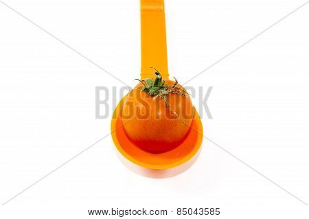 Fresh Ripe and Red Tomato on Spoon