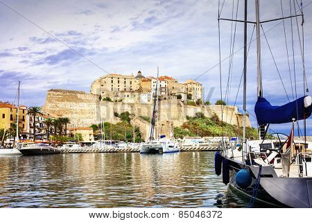holidays in Corsica, view with marina and fortress