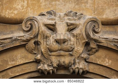 Lion head. Funny mascaron on the Art Nouveau building in Prague, Czech Republic.