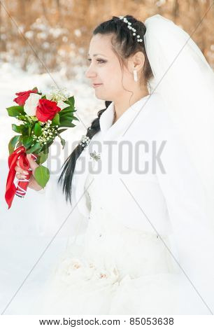 Wedding Dress And Flowers Veil