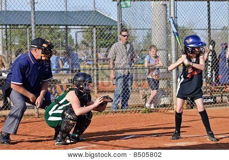 Girl's Softball At Bat