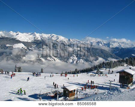 Ski  school on the slope
